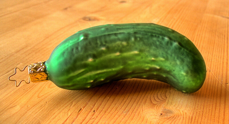 A pickle before it's hung on the tree.