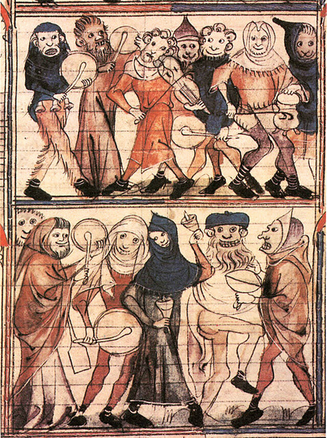 A 14th century representation of a much tamer Feast of Fools.