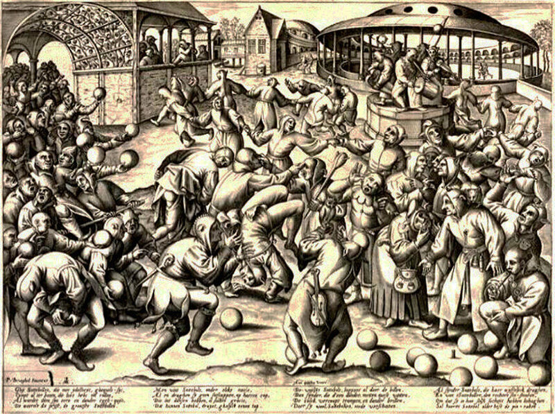 An engraving of the Feast of Fools, made in 1559, after it was banned.
