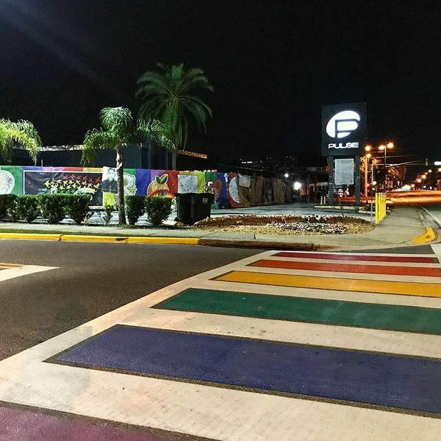 A night view of the new rainbow crosswalk outside Pulse.
