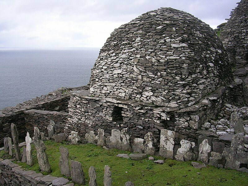 One of the huts and a cemetery on Skellig Michael.