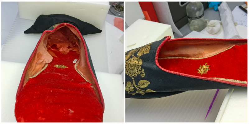 Hopkins repaired a shredded lining (left), to prepare this men's slipper for exhibition.