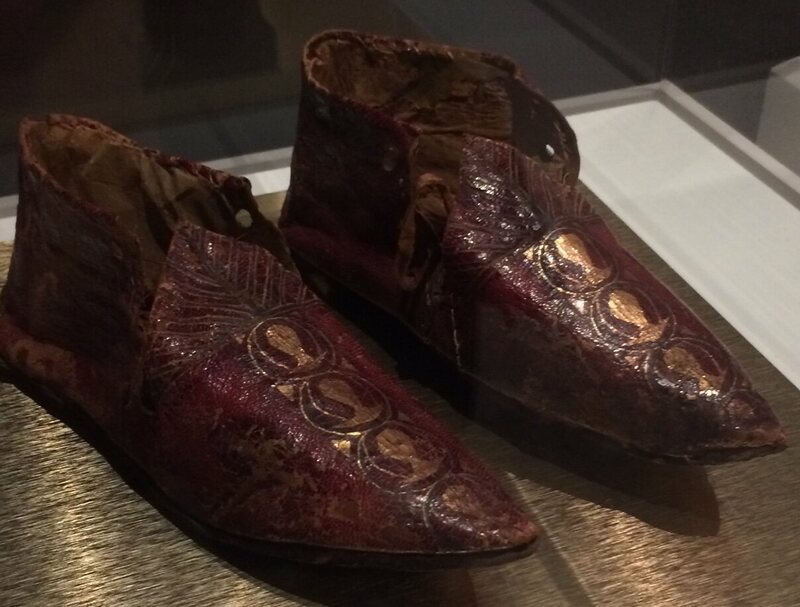 Byzantine-era shoes that probably served an ecclesiastical purpose.