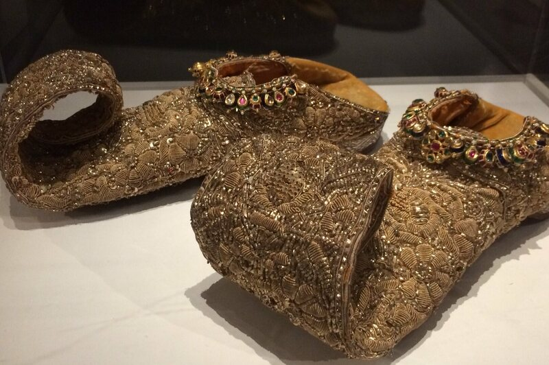 Bejeweled <em>mojari</em> are from Hyderabad, early or mid-1800s.