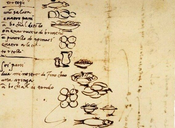 the grocery list sketched by michelangelo in march 1518 michelangelo feasted on fish and bread