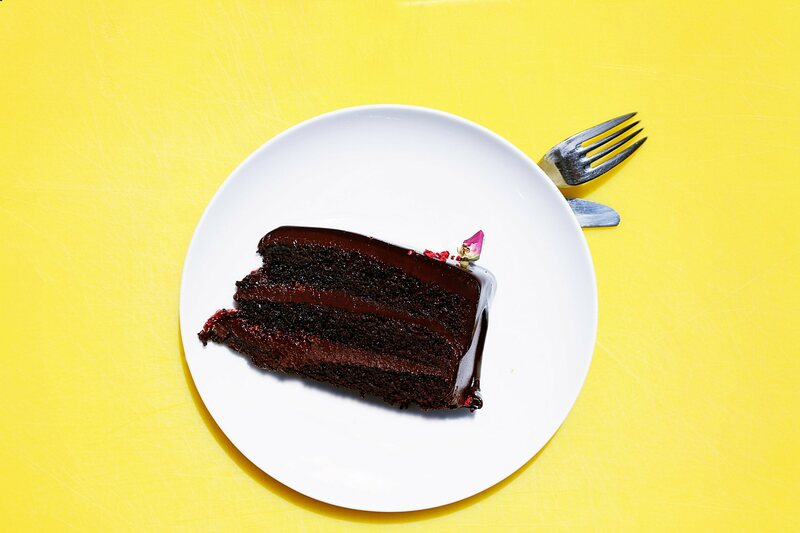 A slice of spectacular, possibly sugar coma-inducing cake.