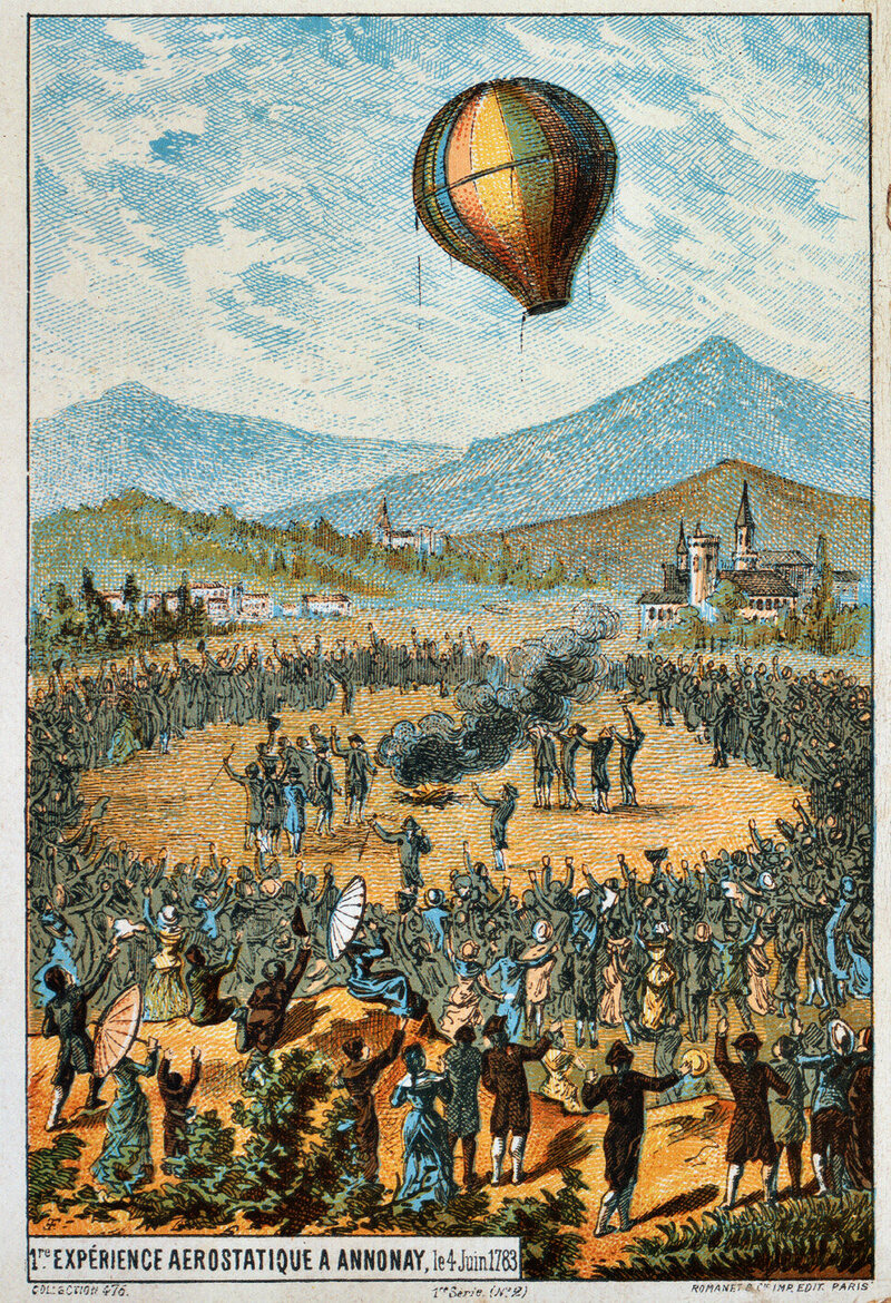An illustration of the Montgolfier brothers' first, unmanned public display in June, 1783.