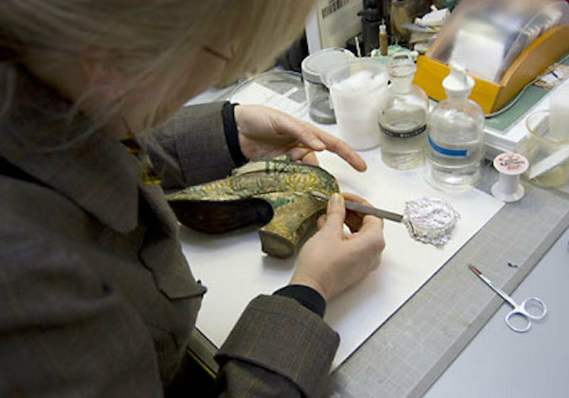 Ada Hopkins gets up close with the museum's collection.