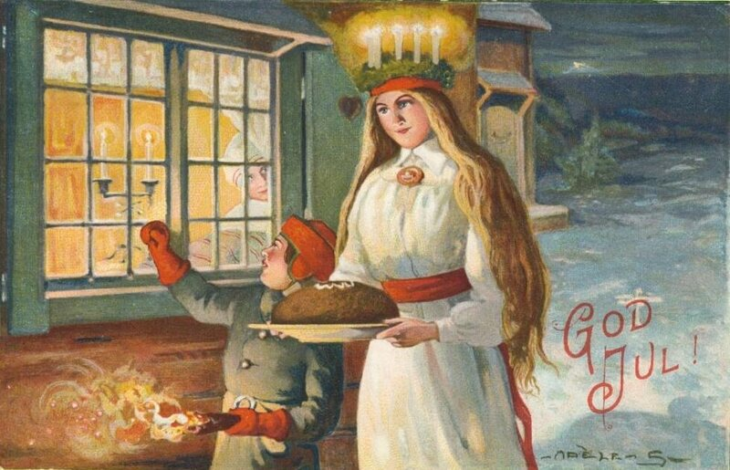 A Swedish Christmas Card showing St Lucia in the snow.