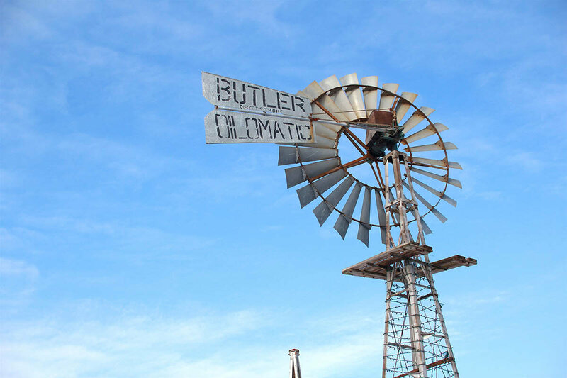A Butler Oilmatic windmill at the Museum.