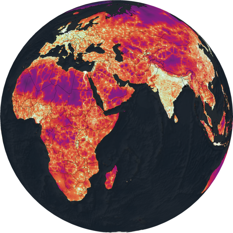 Red indicates places an hour or more away from a city; purple indicates place a day or more away from a city.