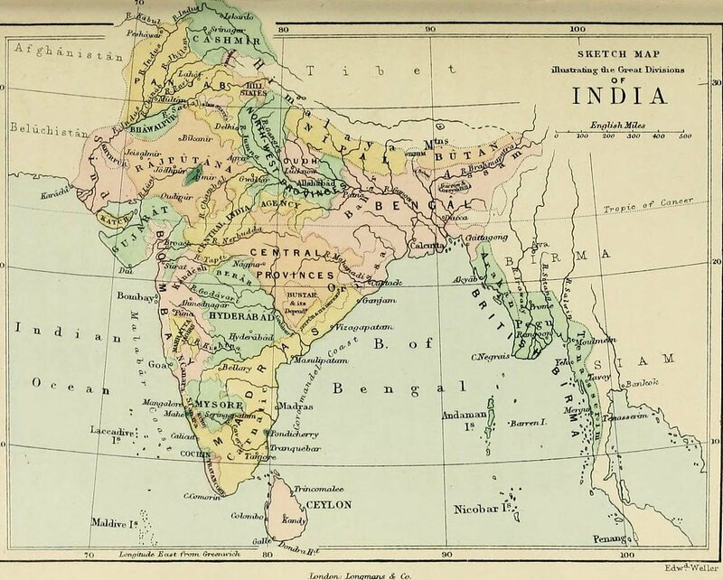 Map of India, c. 1875.
