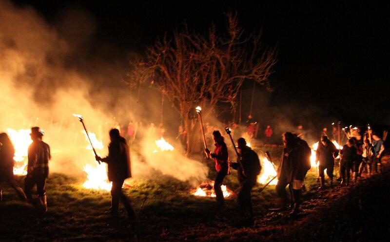 Bonfires often keep revelers warm.