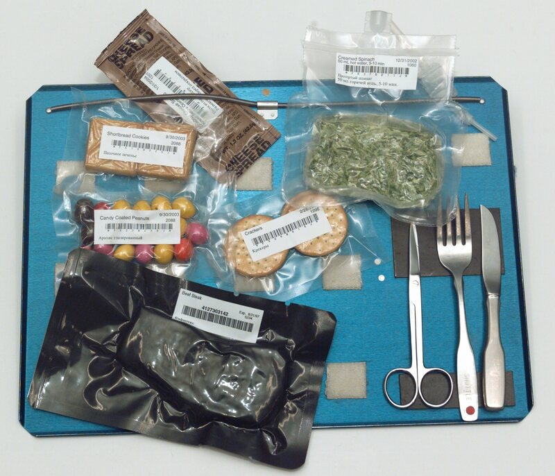 A selection of space food from the ISS in 2003, including creamed spinach.