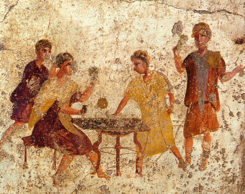 A fresco from Pompeii shows people playing something resembling a board game on a small table.