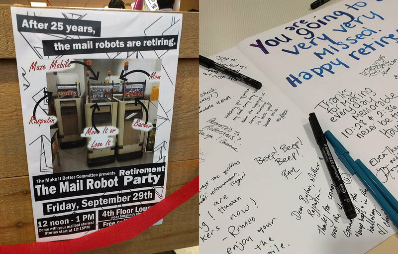 Left, the flyer for the CBC Mail Robots' retirement party; right, the retirement card.