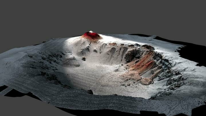 A robot plunged deep into the ocean to map the erupted lava (in red) around the Havre caldera.