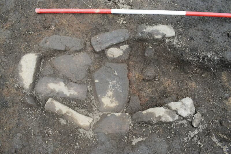 The hearth uncovered near the ruined Deer Abbey.