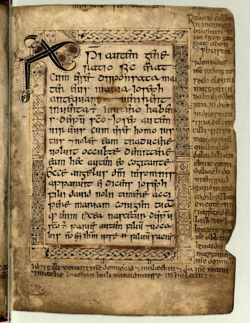 A page from the <em>Book of Deer</em>, a medieval illuminated book of gospels, is believed to be Scotland's oldest manuscript.