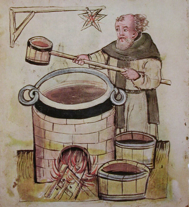 A 14th-century German beer-maker at work.