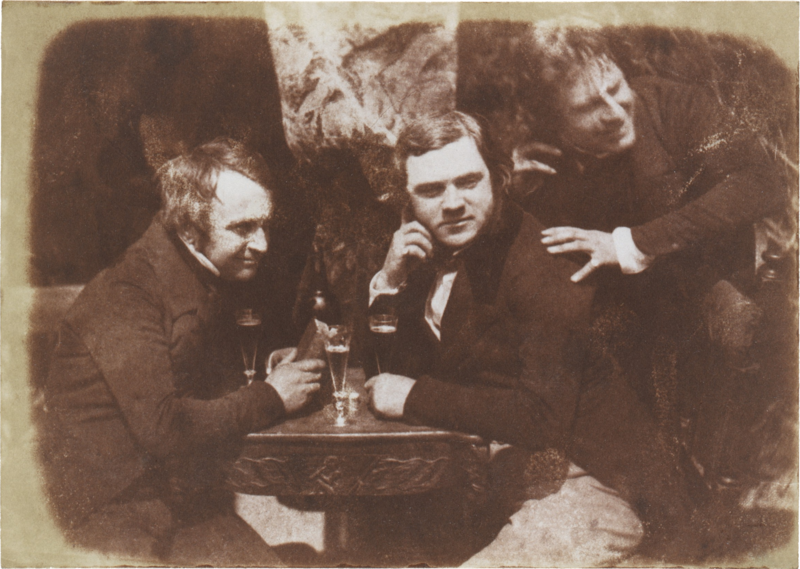 Three men drink a Younger's ale, Edinburgh, c. 1844.