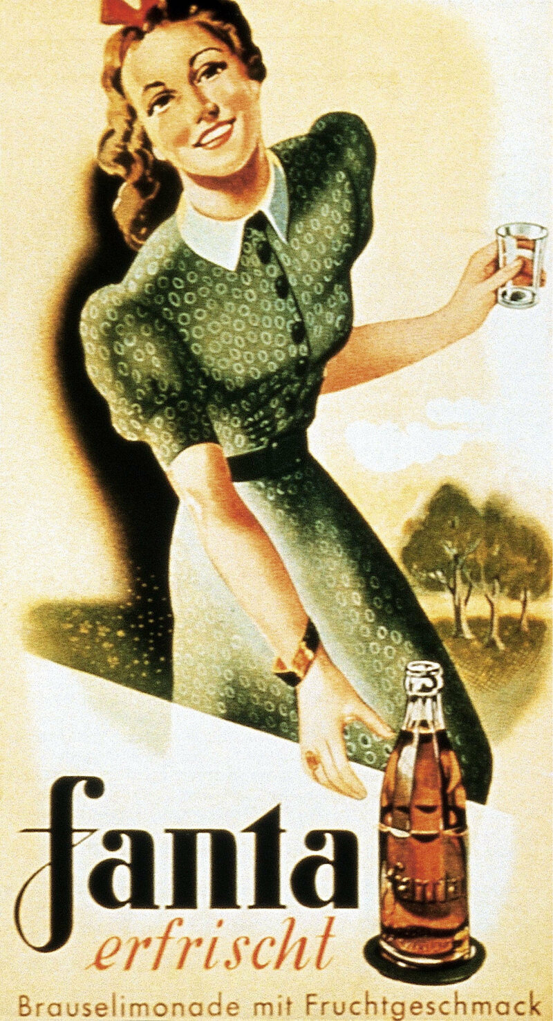 A 1950 Fanta advertisement that compares it to refreshing lemonade.