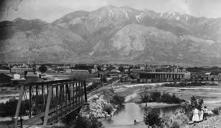 A view of Ogden, Utah, in 1910. The train station can be seen at the right.