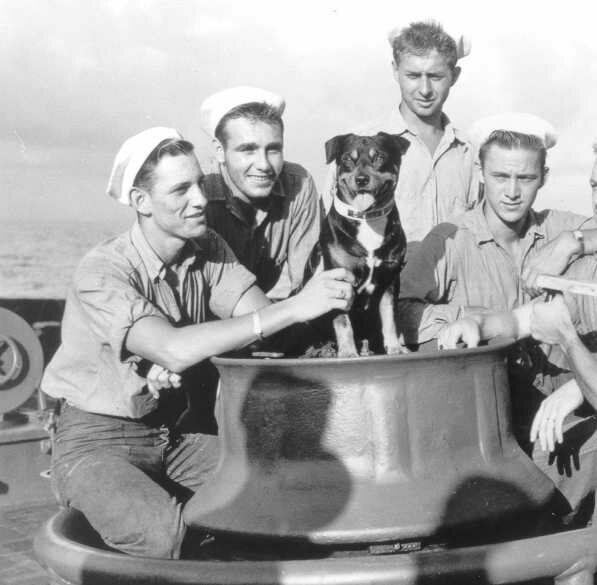 Sinbad and his fellow crewmen on the deck of USCG <em>Campbell</em>, 1943.