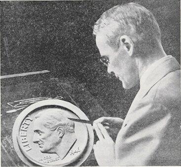 U.S. Mint Chief Engraver John Sinnock posing with the Roosevelt dime plaster model.