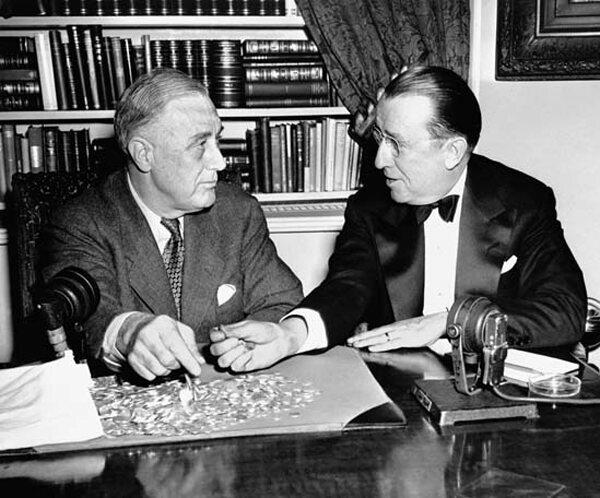 March of Dimes President Basil O'Connor meets with Roosevelt to discuss polio vaccination efforts in 1944.