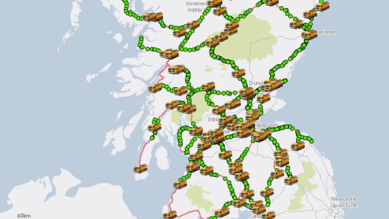 A screenshot of the map shows the 90-odd salt trucks scattered across Scotland.