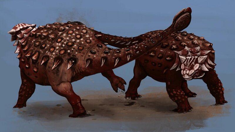 Two Ankylosaurus come to blows.
