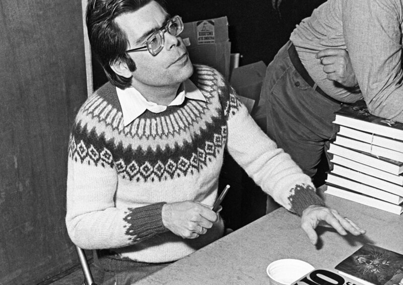 Stephen King at a book signing, c 1976.
