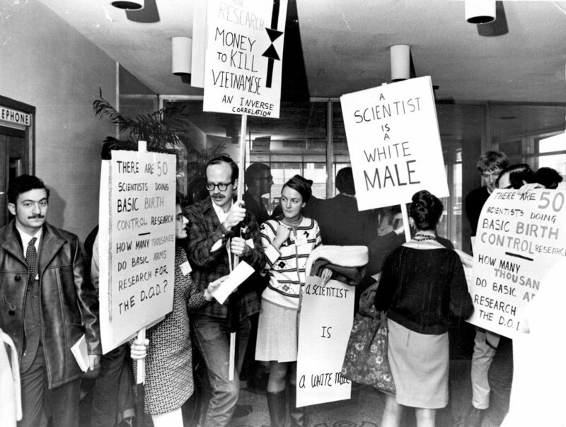 Protesters at the American Association for the Advancement of Science meeting in 1969.