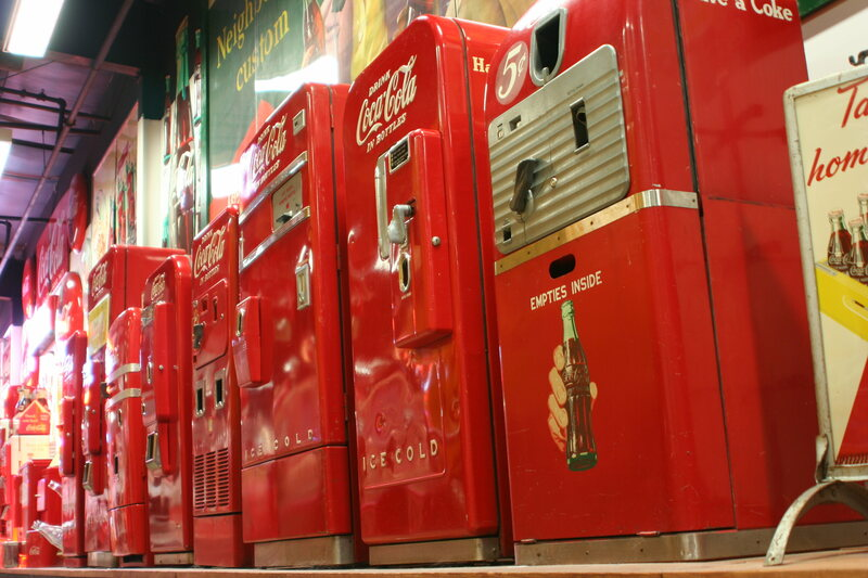 """There are no known photographs of the """"secret"""" soda machine, though it may have looked like these vintage models."""