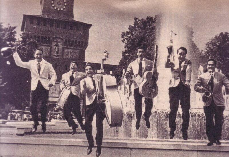Renato Carosone and his band in Milan in 1958.