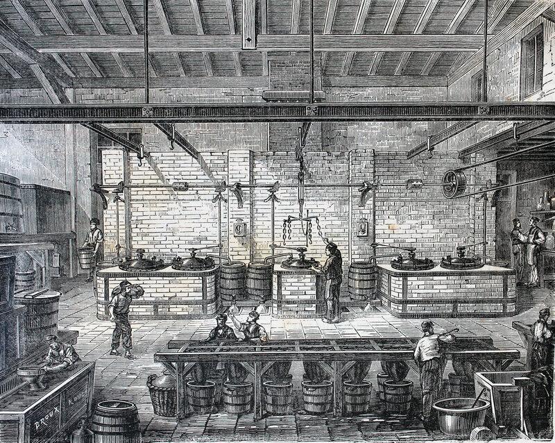 A factory making blue dye.