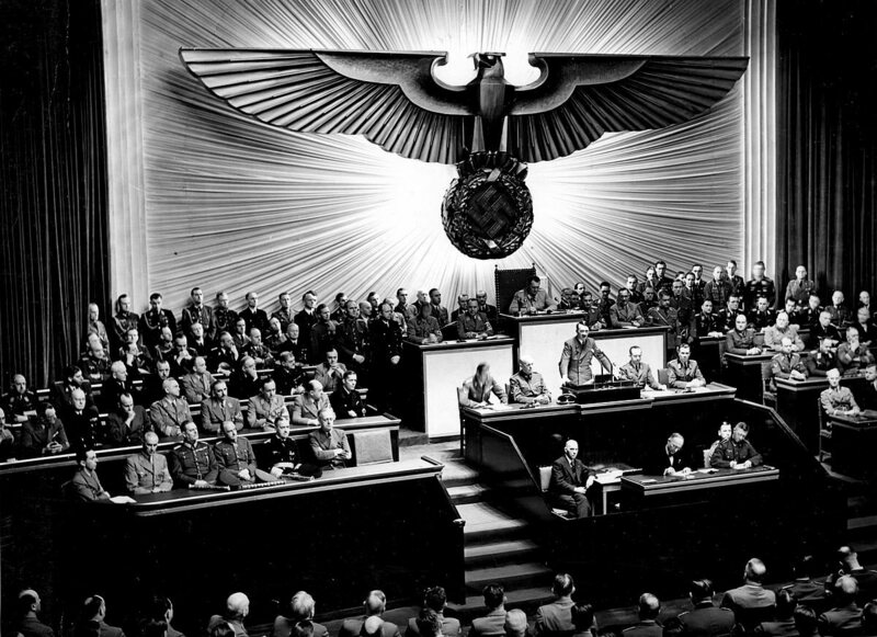 Germany declares war on the United States in 1941.