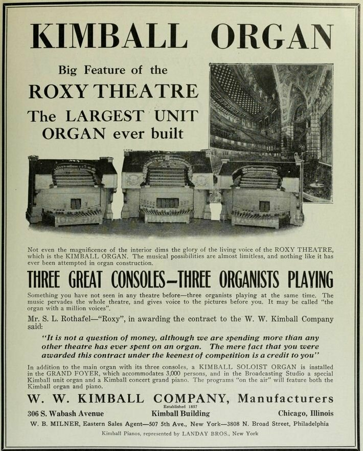An advertisement for the Kimball Organ at New York's Roxy Theatre.