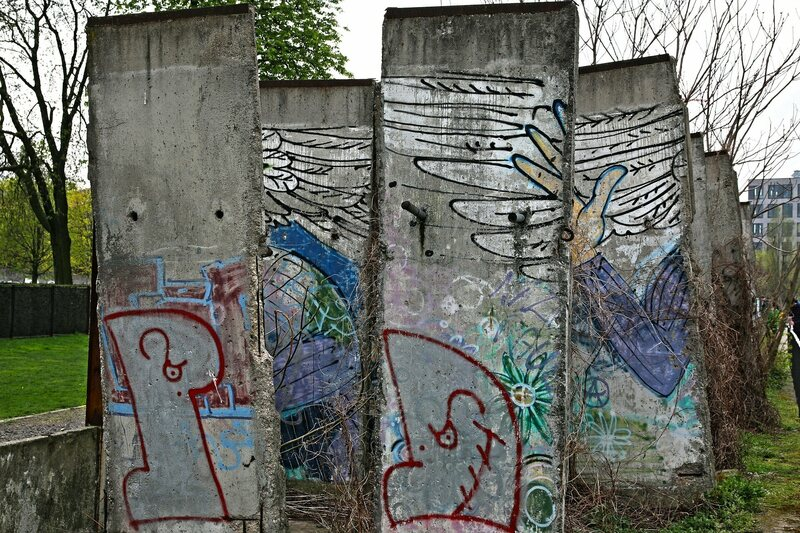 Other fragments of the Berlin Wall are prominently on display, and often decorated with graffiti art.