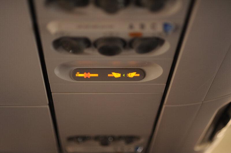 An airplane's seatbelt sign.