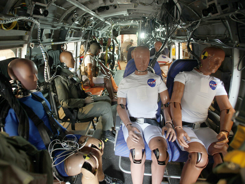 Crash testing seatbelts in a helicopter at NASA's Langley Research Center.