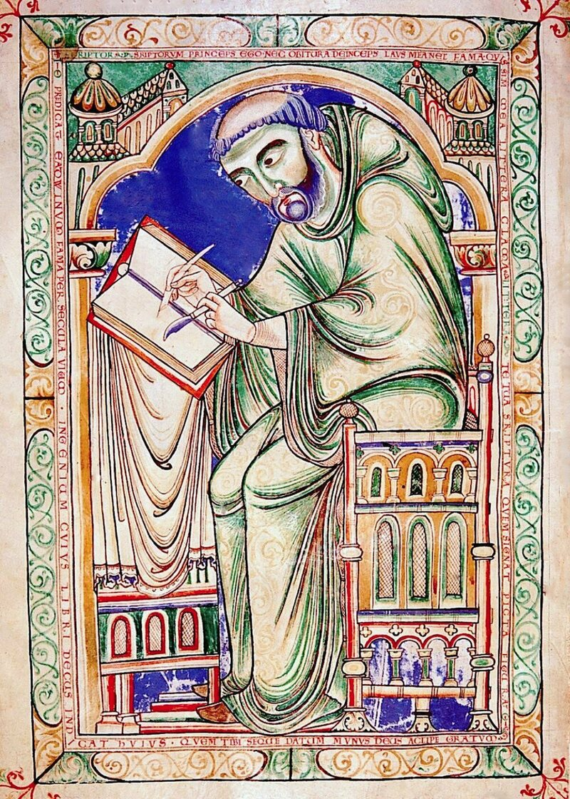 A medieval depiction of scribe holding a quill pen and a knife, from Canterbury, England.