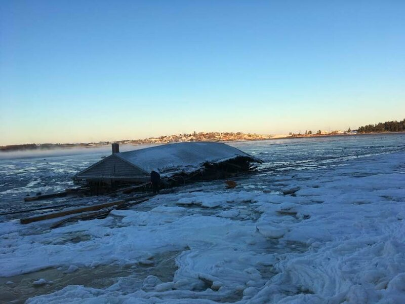 The shed made landfall on Campobello Island, amid January snow.