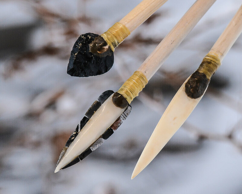 """Wood's reconstructed blades have poplar projectiles and obsidian and bone """"arrowheads""""."""