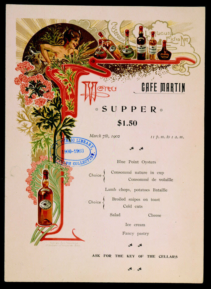 Café Martin, in New York, was one such restaurant with a ladies' menu. It looked much like the one above—but without the $1.50 price tag.