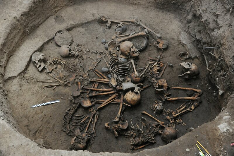 The remains in a burial under Mexico City appear to have been arranged in a spiral.