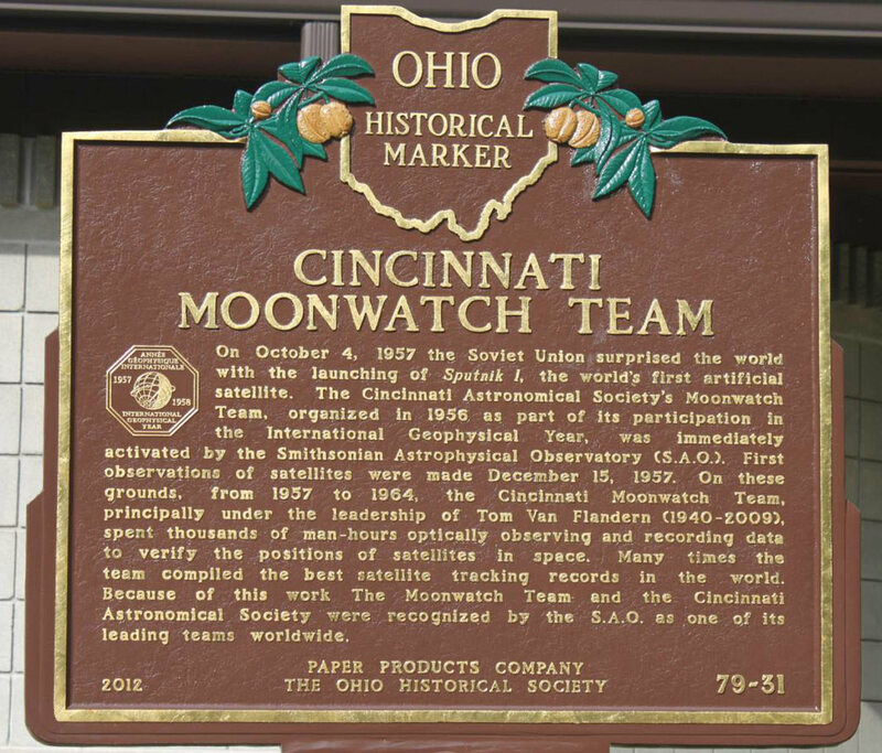 A historic marker commemorating the Cincinnati Moonwatch team.