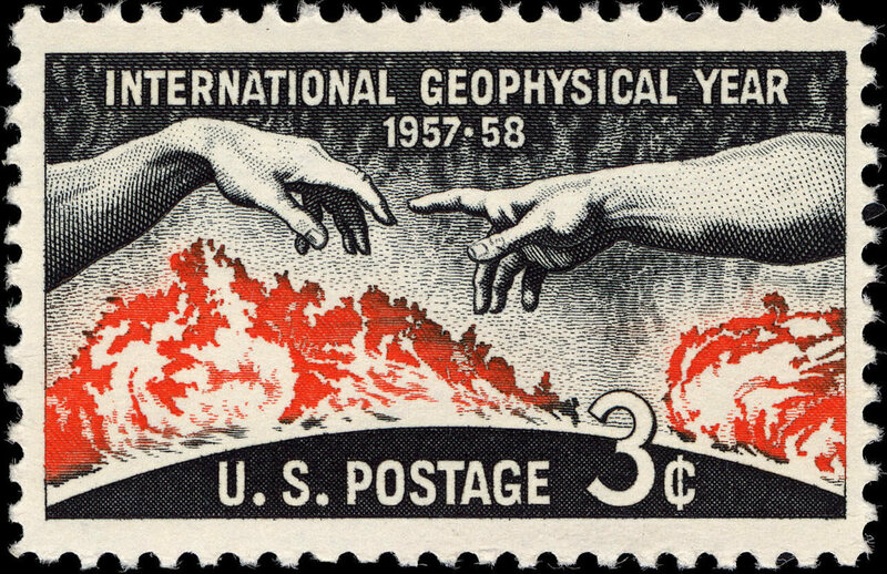 A U.S. postage stamp commemorating the International Geophysical Year.