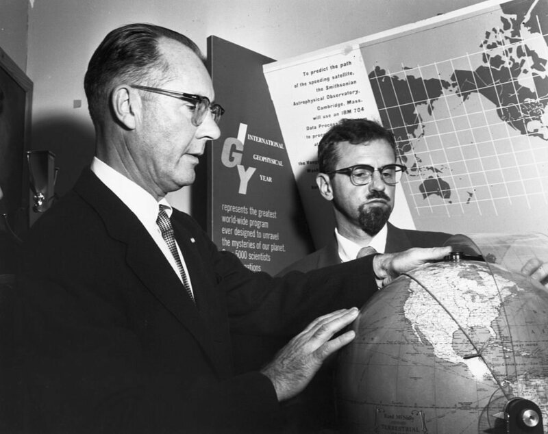 Fred Whipple (left), creator of Operation Moonwatch, and J. Allen Hynek, its director, discuss their plans for tracking Sputnik I on the day of its launch.